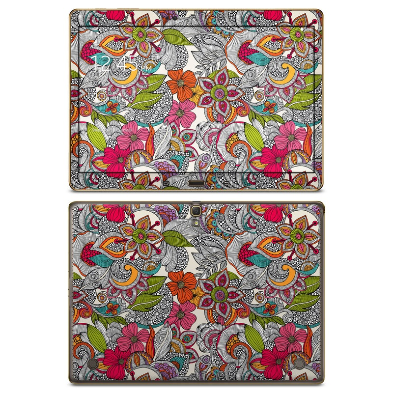 Samsung Galaxy Tab S 10.5 Skin design of Pattern, Drawing, Visual arts, Art, Design, Doodle, Floral design, Motif, Illustration, Textile with gray, red, black, green, purple, blue colors