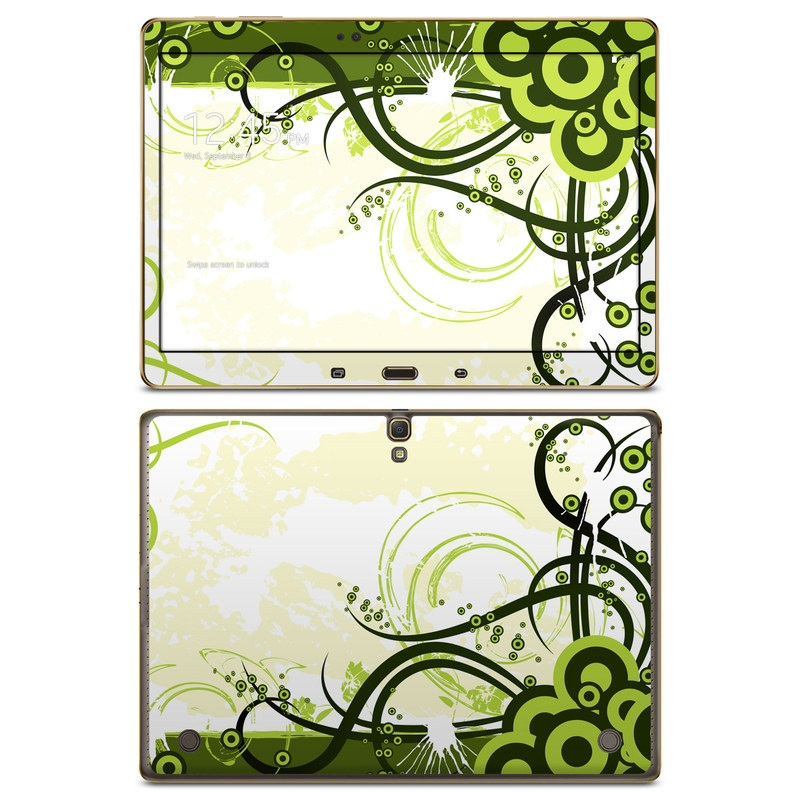 Samsung Galaxy Tab S 10.5 Skin design of Green, Clip art, Leaf, Botany, Graphic design, Line, Floral design, Design, Plant, Grass with white, yellow, black, green, gray colors