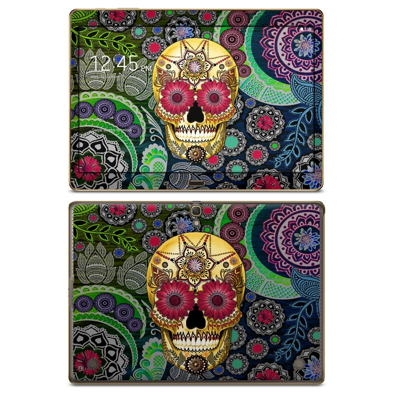 Samsung Galaxy Tab S 10.5 Skin design of Skull, Bone, Pattern, Psychedelic art, Visual arts, Design, Illustration, Art, Textile, Plant with black, red, gray, green, blue colors
