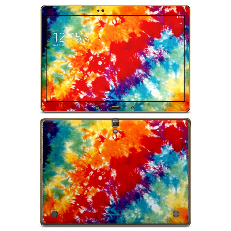 Samsung Galaxy Tab S 10.5 Skin design of Orange, Watercolor paint, Sky, Dye, Acrylic paint, Colorfulness, Geological phenomenon, Art, Painting, Organism with red, orange, blue, green, yellow, purple colors
