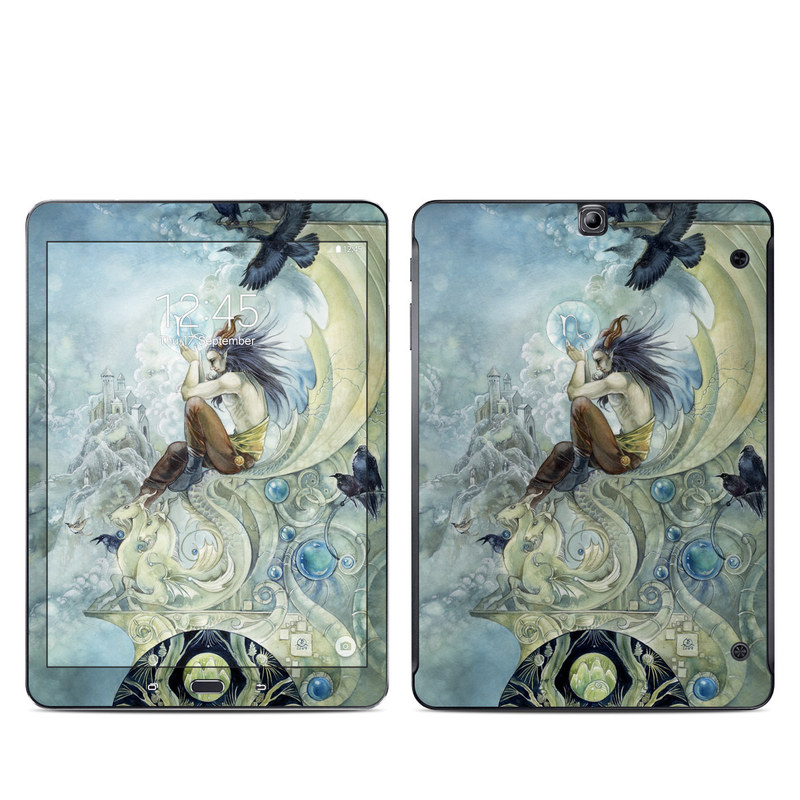 Samsung Galaxy Tab S2 9.7 Skin design of Illustration, Mythology, Art, Cg artwork, Painting, Watercolor paint, Fictional character, Visual arts, Graphic design, Graphics with blue, yellow, black, white colors