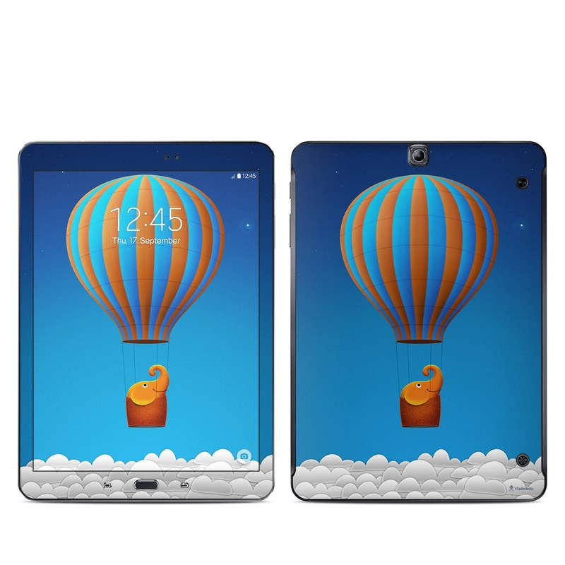 Samsung Galaxy Tab S2 9.7 Skin design of Hot air ballooning, Hot air balloon, Sky, Balloon, Air travel, Azure, Vehicle, Air sports, Illustration, Aerostat with blue, gray, red, green colors