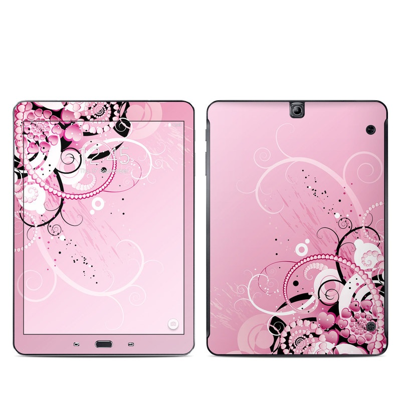 Samsung Galaxy Tab S2 9.7 Skin design of Pink, Floral design, Graphic design, Text, Design, Flower Arranging, Pattern, Illustration, Flower, Floristry with pink, gray, black, white, purple, red colors