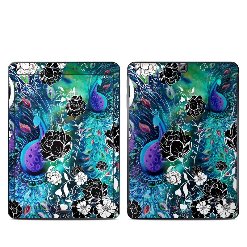 Samsung Galaxy Tab S2 9.7 Skin design of Pattern, Psychedelic art, Organism, Turquoise, Purple, Graphic design, Art, Design, Illustration, Fractal art with black, blue, gray, green, white colors