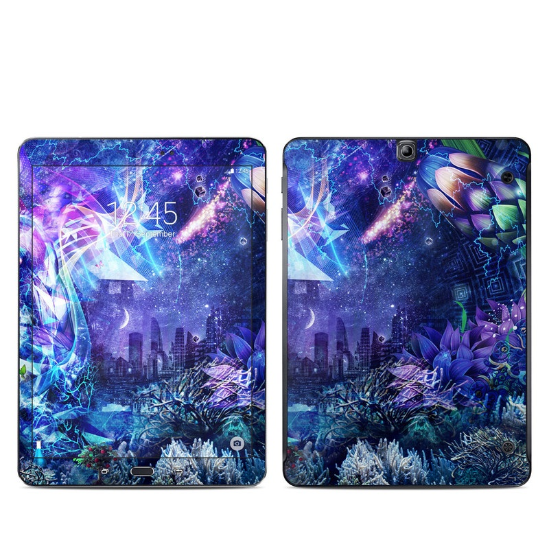Samsung Galaxy Tab S2 9.7 Skin design of Blue, Purple, Violet, Lavender, Majorelle blue, Psychedelic art, Electric blue, Organism, Art, Design with blue, green, purple, red, pink colors