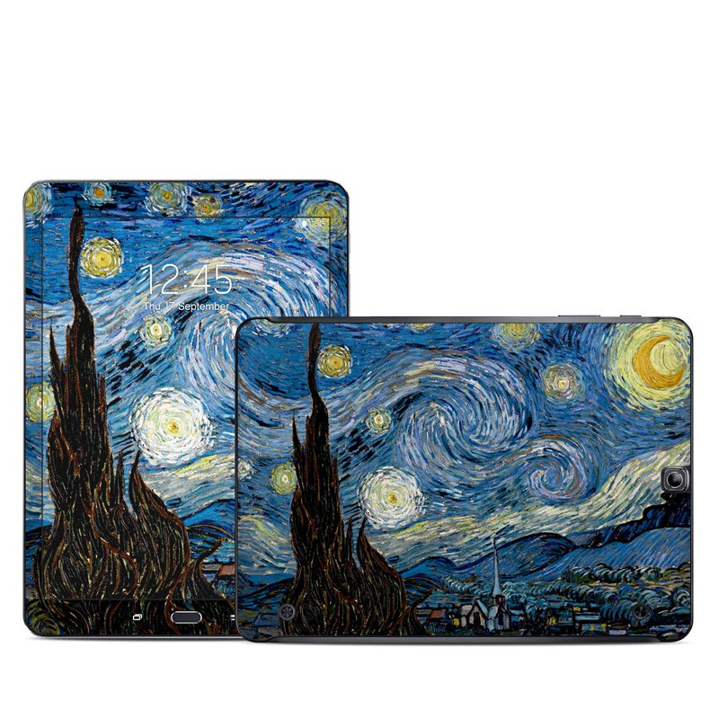 Samsung Galaxy Tab S2 9.7 Skin design of Painting, Purple, Art, Tree, Illustration, Organism, Watercolor paint, Space, Modern art, Plant with gray, black, blue, green colors