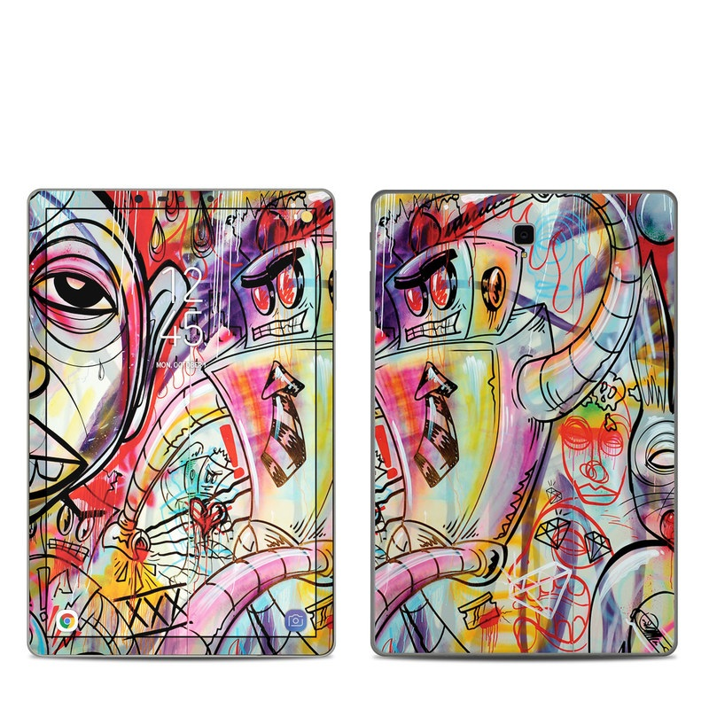 Samsung Galaxy Tab S4 Skin design of Modern art, Graffiti, Street art, Art, Mural, Visual arts, Psychedelic art, Painting, Drawing, Illustration with blue, red, yellow, orange, purple colors