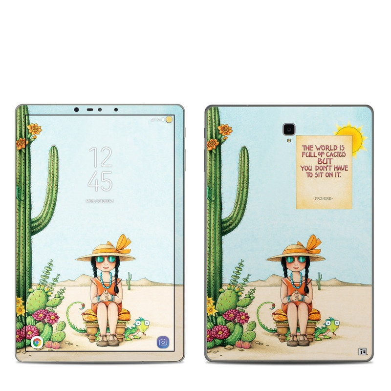 Samsung Galaxy Tab S4 Skin design of Cartoon, Cactus, Illustration, Animated cartoon, Plant, Vegetable, Fictional character, Art with green, yellow, pink, orange, brown colors