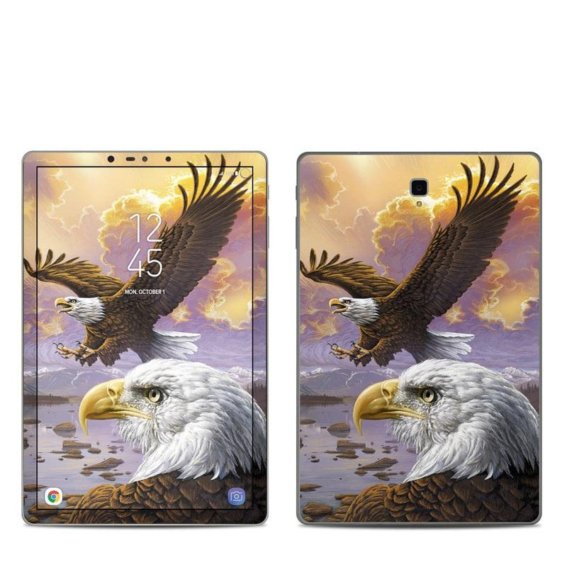 Samsung Galaxy Tab S4 Skin design of Bird, Bird of prey, Bald eagle, Vertebrate, Eagle, Accipitriformes, Accipitridae, Golden eagle, Beak, Hawk with gray, black, green, red, purple colors