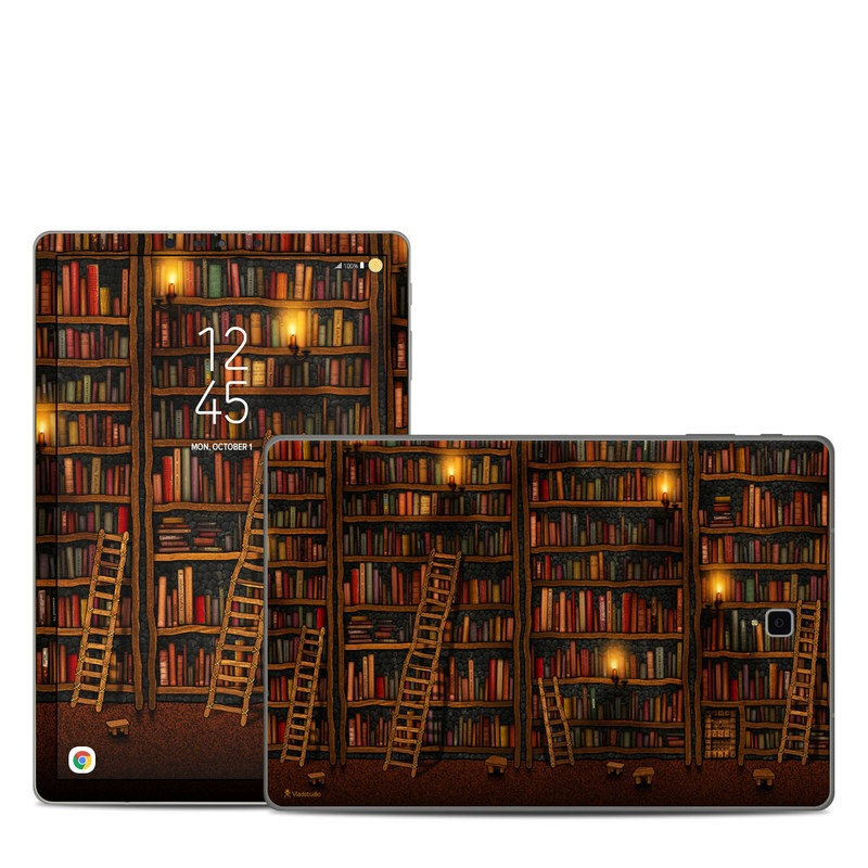 Samsung Galaxy Tab S4 Skin design of Shelving, Library, Bookcase, Shelf, Furniture, Book, Building, Publication, Room, Darkness with black, red colors