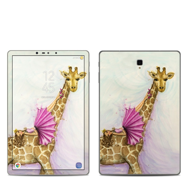 Samsung Galaxy Tab S4 Skin design of Giraffe, Giraffidae, Terrestrial animal, Pink, Wildlife, Snout, Fawn, Illustration, Watercolor paint, Magenta with blue, brown, orange, pink colors