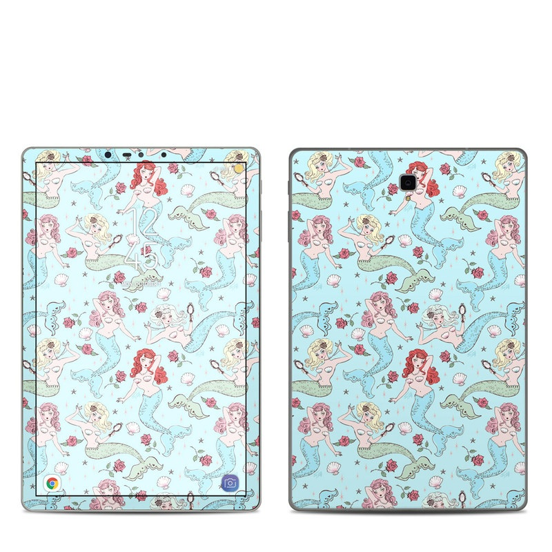 Samsung Galaxy Tab S4 Skin design of Pattern, Wrapping paper, Aqua, Teal, Turquoise, Wallpaper, Textile, Design, Pedicel, Motif with blue, yellow, red, white, green colors