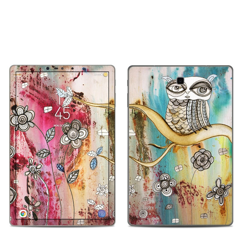 Samsung Galaxy Tab S4 Skin design of Owl, Pink, Illustration, Art, Visual arts, Watercolor paint, Organism, Modern art, Graphic design, Pattern with gray, red, green, black, blue, purple colors