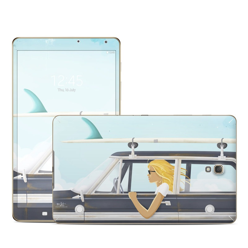 Samsung Galaxy Tab S 8.4 Skin design of Vehicle door, Vehicle, Automotive exterior, Automotive design, Car, Headgear, Windshield, Dress, Automotive window part, Family car with blue, white, gray, yellow colors