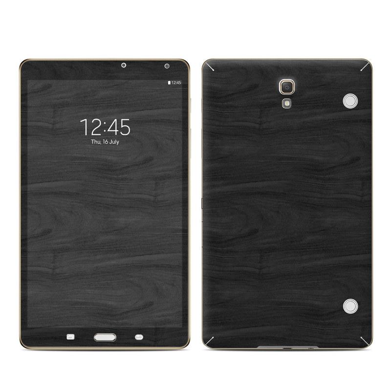 Samsung Galaxy Tab S 8.4 Skin design of Black, Brown, Wood, Grey, Flooring, Floor, Laminate flooring, Wood flooring with black colors