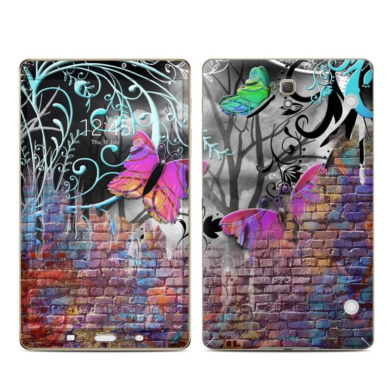 Samsung Galaxy Tab S 8.4 Skin design of Purple, Graphic design, Art, Pattern, Graffiti, Organism, Street art, Wall, Font, Illustration with red, black, gray, purple, orange, blue, green colors