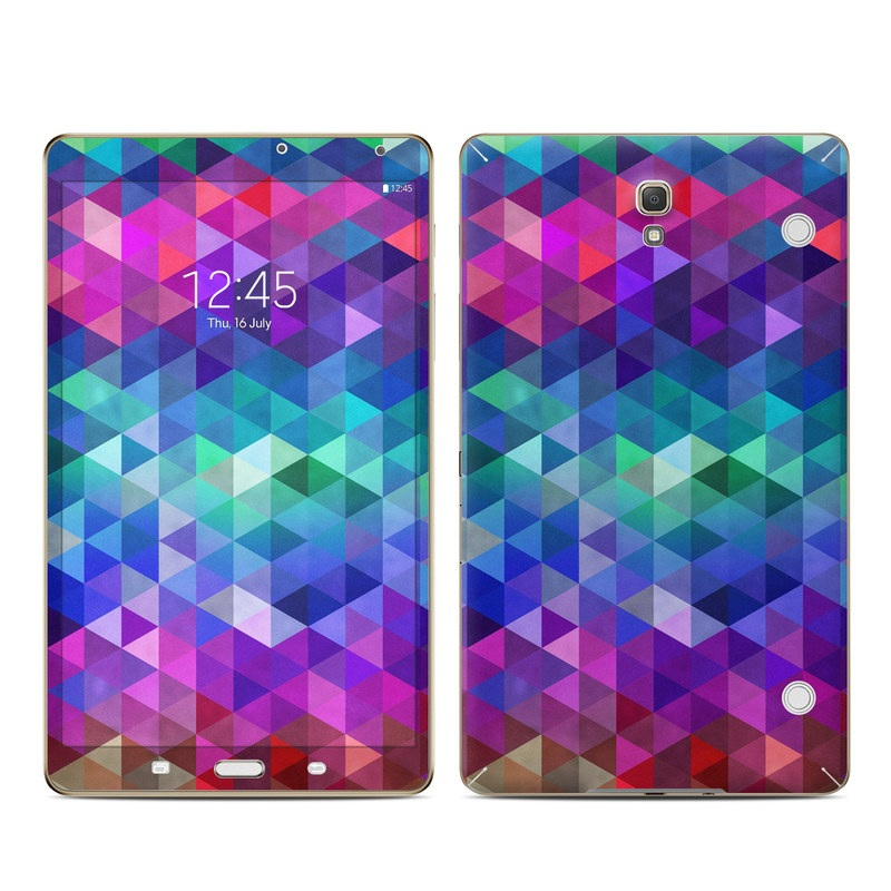 Samsung Galaxy Tab S 8.4 Skin design of Purple, Violet, Pattern, Blue, Magenta, Triangle, Line, Design, Graphic design, Symmetry with blue, purple, green, red, pink colors