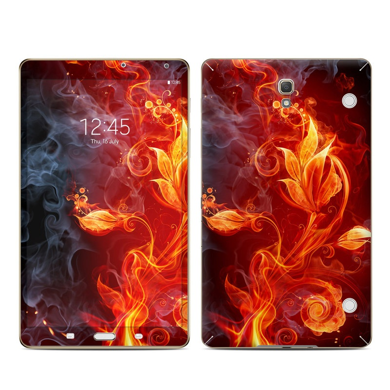 Samsung Galaxy Tab S 8.4 Skin design of Flame, Fire, Heat, Red, Orange, Fractal art, Graphic design, Geological phenomenon, Design, Organism with black, red, orange colors