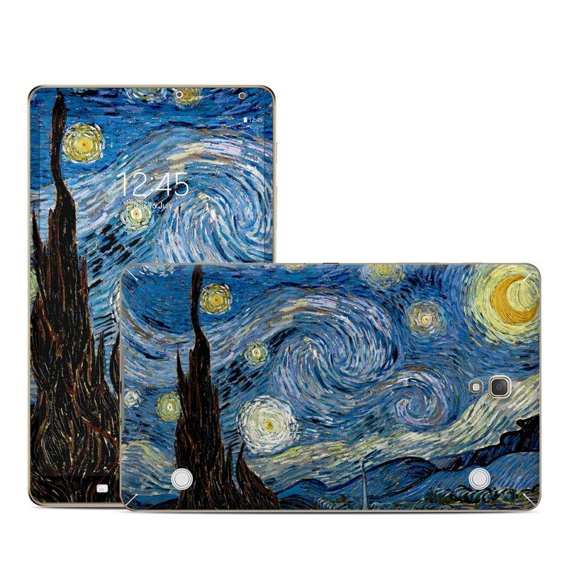 Samsung Galaxy Tab S 8.4 Skin design of Painting, Purple, Art, Tree, Illustration, Organism, Watercolor paint, Space, Modern art, Plant with gray, black, blue, green colors