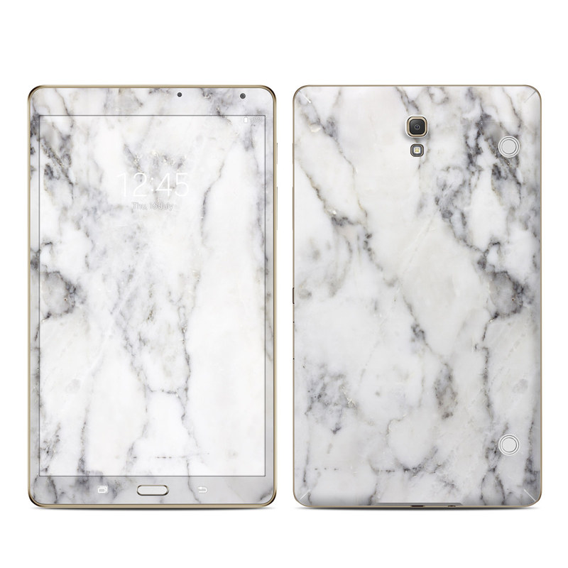 Samsung Galaxy Tab S 8.4 Skin design of White, Geological phenomenon, Marble, Black-and-white, Freezing with white, black, gray colors