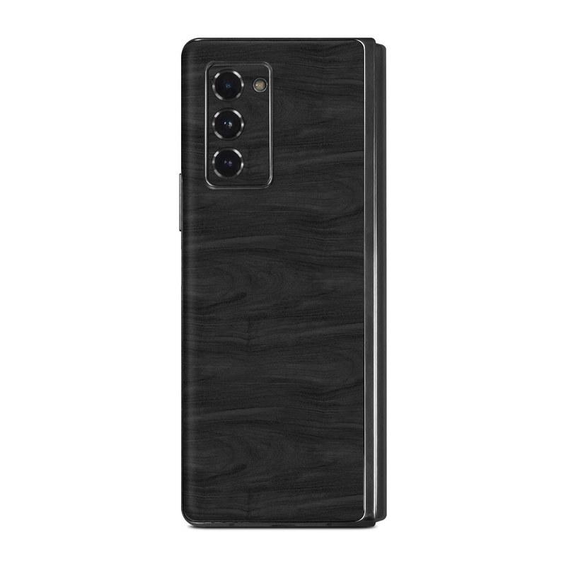 Samsung Galaxy Z Fold2 Skin design of Black, Brown, Wood, Grey, Flooring, Floor, Laminate flooring, Wood flooring with black colors