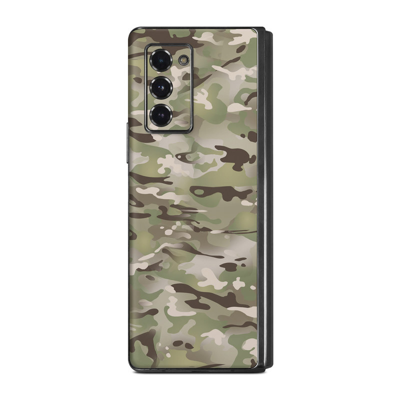 Samsung Galaxy Z Fold2 Skin design of Military camouflage, Camouflage, Pattern, Clothing, Uniform, Design, Military uniform, Bed sheet with gray, green, black, red colors