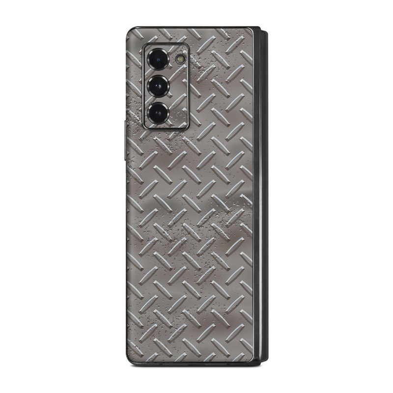 Samsung Galaxy Z Fold2 Skin design of Font, Text, Metal, Pattern, Design, Number, Steel with gray colors