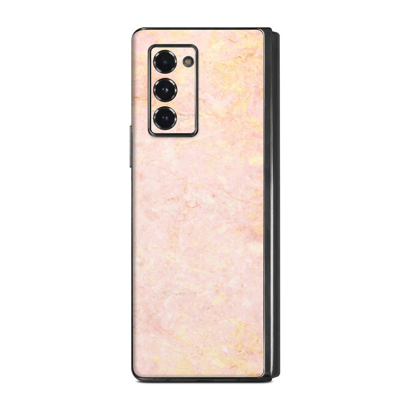 Samsung Galaxy Z Fold2 Skin design of Pink, Peach, Wallpaper, Pattern with pink, yellow, orange colors