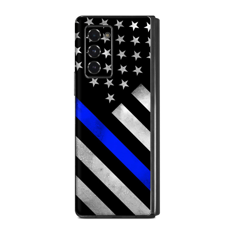 Samsung Galaxy Z Fold2 Skin design of Flag of the united states, Flag, Cobalt blue, Pattern, Line, Black-and-white, Design, Monochrome, Electric blue, Parallel with black, white, gray, blue colors