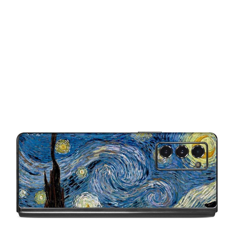 Samsung Galaxy Z Fold2 Skin design of Painting, Purple, Art, Tree, Illustration, Organism, Watercolor paint, Space, Modern art, Plant with gray, black, blue, green colors