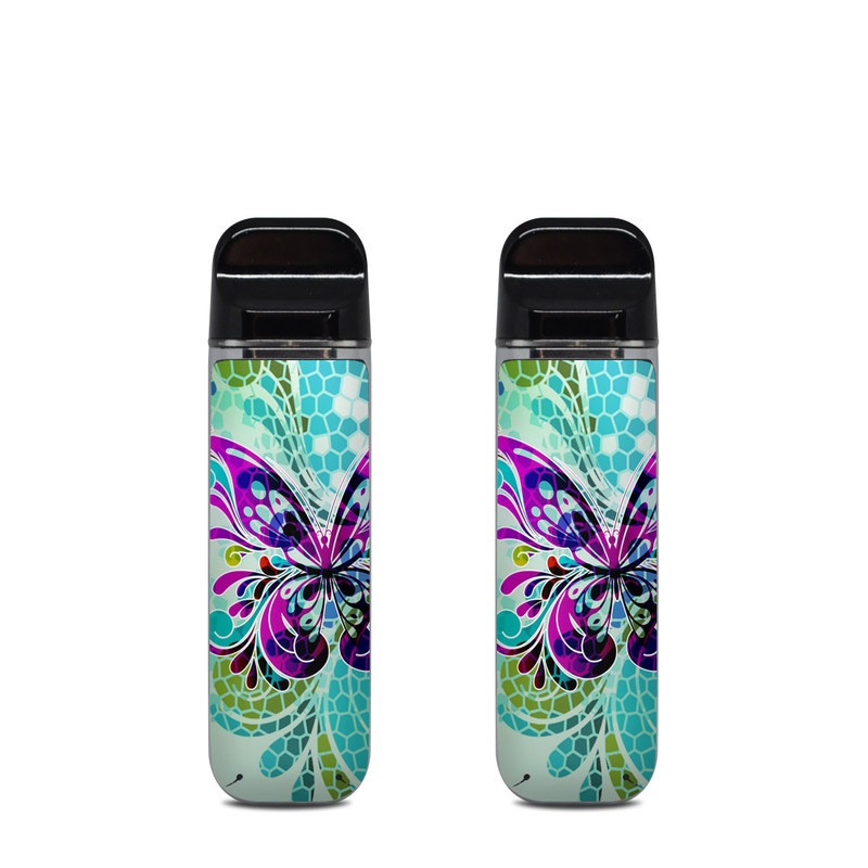 SMOK Novo Skin design of Butterfly, Pattern, Insect, Moths and butterflies, Purple, Graphic design, Design, Pollinator, Visual arts, Magenta with blue, green, purple colors