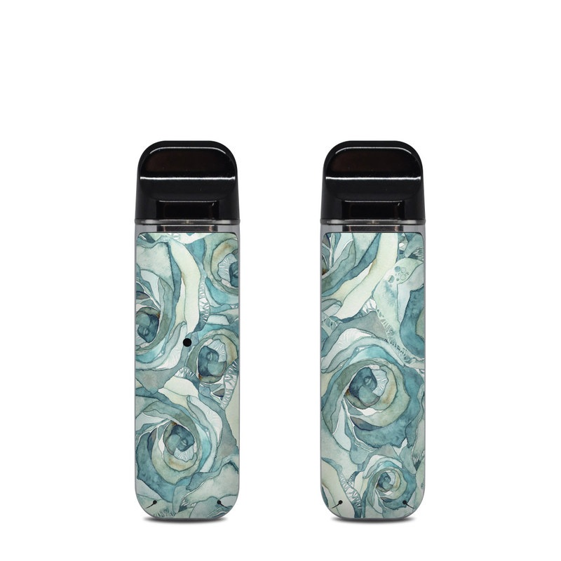 SMOK Novo Skin design of Rose, Garden roses, Blue, Flower, Rose family, Watercolor paint, Plant, Pattern, Rosa × centifolia, Blue rose with blue, green colors