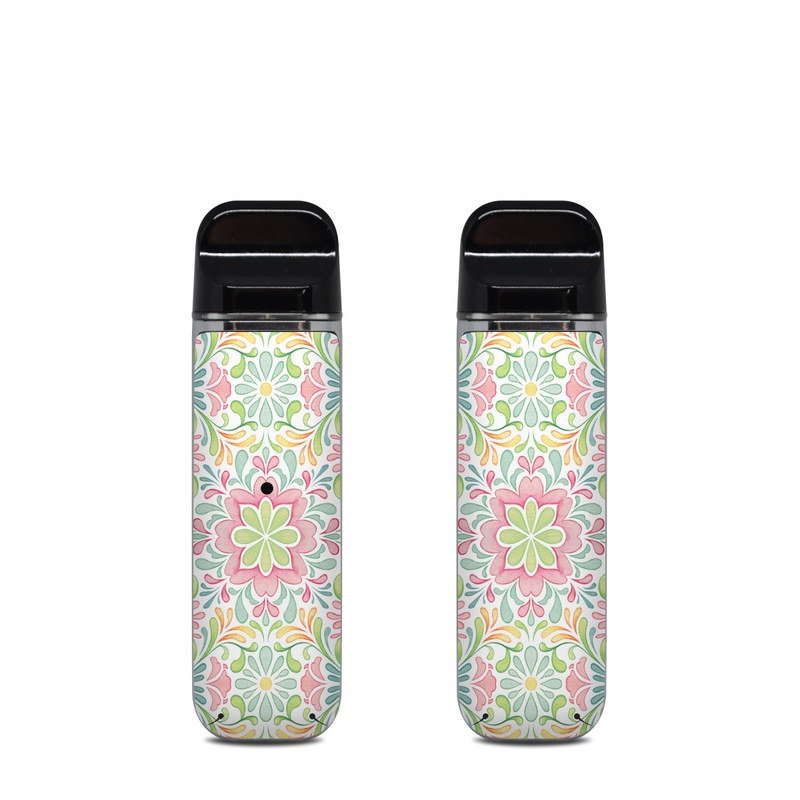 SMOK Novo Skin design of Pattern, Pink, Visual arts, Design, Textile, Wrapping paper, Symmetry, Floral design, Motif with gray, white, pink, green colors