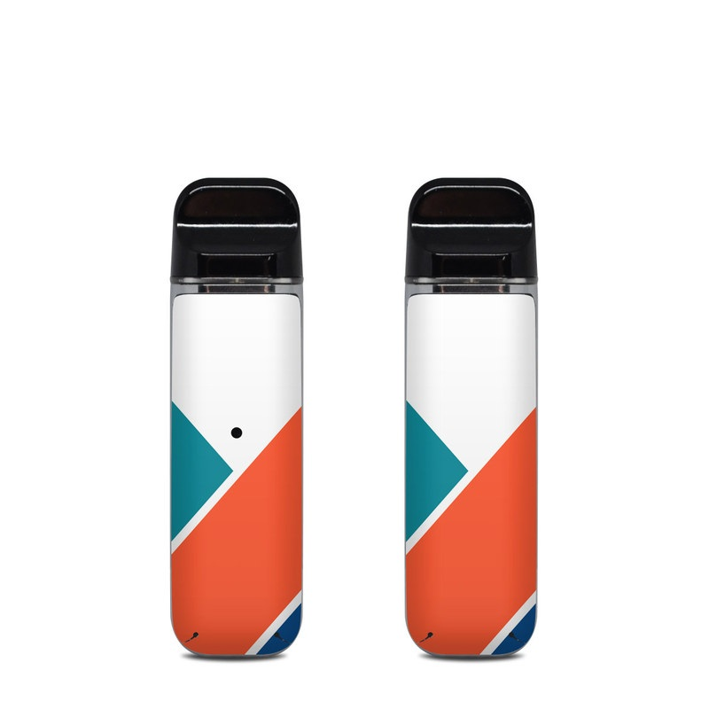SMOK Novo Skin design of Blue, Orange, Line, Turquoise, Flag, Electric blue, Pattern, Parallel with white, blue, red, orange, green colors