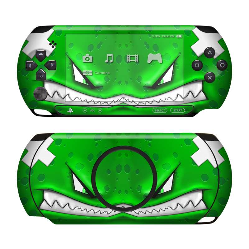 PSP Street Skin design of Green, Font, Animation, Logo, Graphics, Games with green, white colors