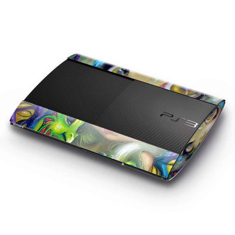 PlayStation 3 Super Slim Skin design of Illustration, Art, Fictional character, Painting, Visual arts, Fawn, Ear, Drawing with gray, black, green, blue, red colors