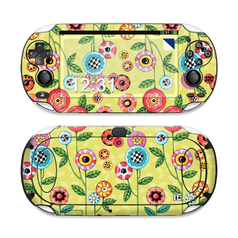 PlayStation Vita Skin design of Wrapping paper, Pattern, Textile, Design, Visual arts, Wildflower, Art, Plant, Child art, Flower with green, blue, red, yellow, orange, pink colors