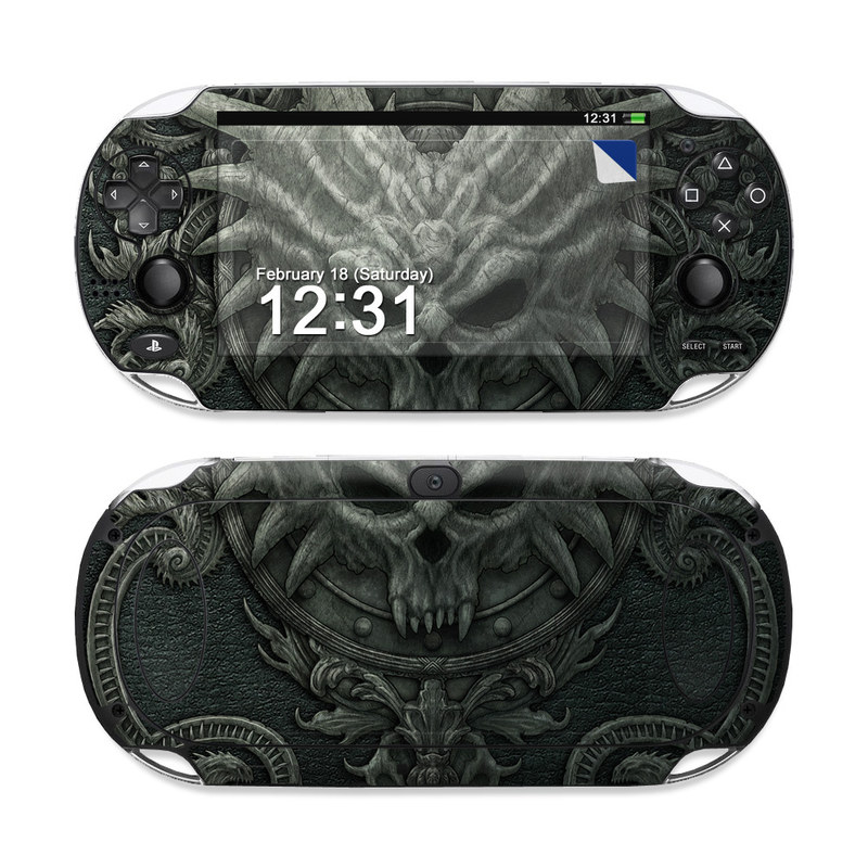 PlayStation Vita Skin design of Demon, Dragon, Fictional character, Illustration, Supernatural creature, Drawing, Symmetry, Art, Mythology, Mythical creature with black, gray colors