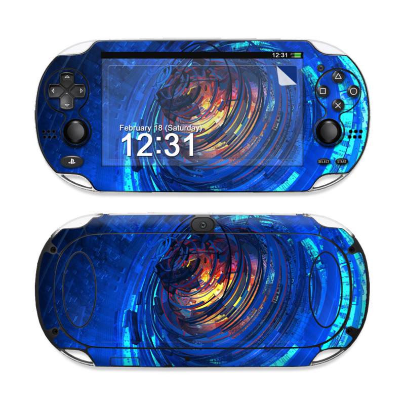 PlayStation Vita Skin design of Blue, Water, Circle, Vortex, Electric blue, Wave, Liquid, Graphics, Pattern, Colorfulness with blue, orange, yellow colors