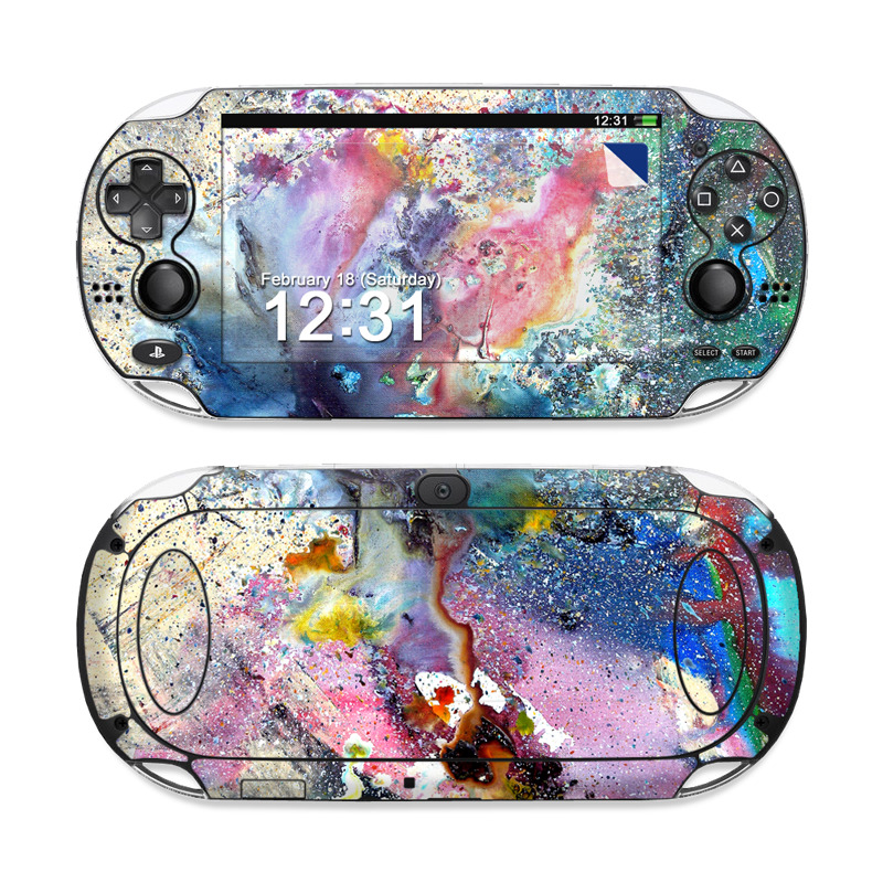 PlayStation Vita Skin design of Watercolor paint, Painting, Acrylic paint, Art, Modern art, Paint, Visual arts, Space, Colorfulness, Illustration with gray, black, blue, red, pink colors
