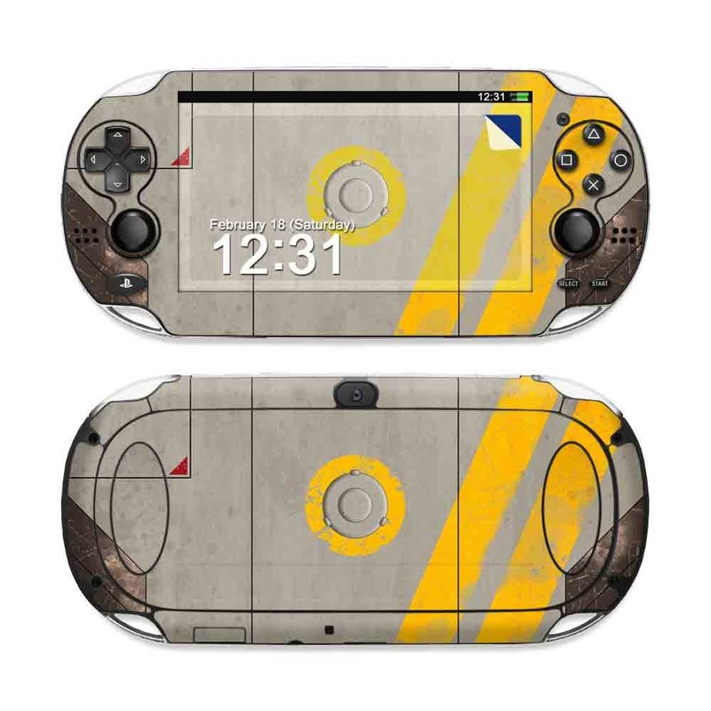PlayStation Vita Skin design of Yellow, Wall, Line, Orange, Design, Concrete, Font, Architecture, Parallel, Wood with gray, yellow, red, black colors