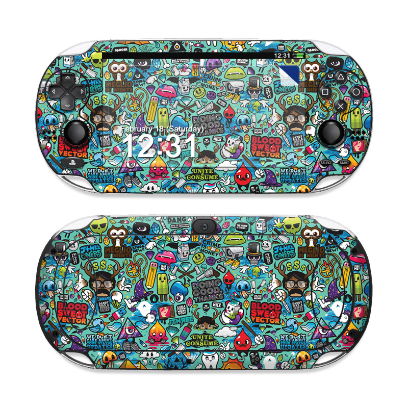 PlayStation Vita Skin design of Cartoon, Art, Pattern, Design, Illustration, Visual arts, Doodle, Psychedelic art with black, blue, gray, red, green colors