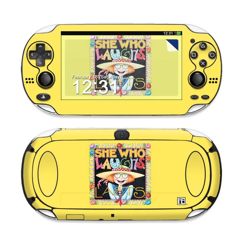 PlayStation Vita Skin design of Text with orange, black, gray, green, red, pink colors