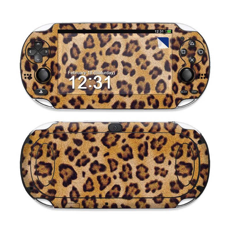PlayStation Vita Skin design of Pattern, Felidae, Fur, Brown, Design, Terrestrial animal, Close-up, Big cats, African leopard, Organism with orange, black colors