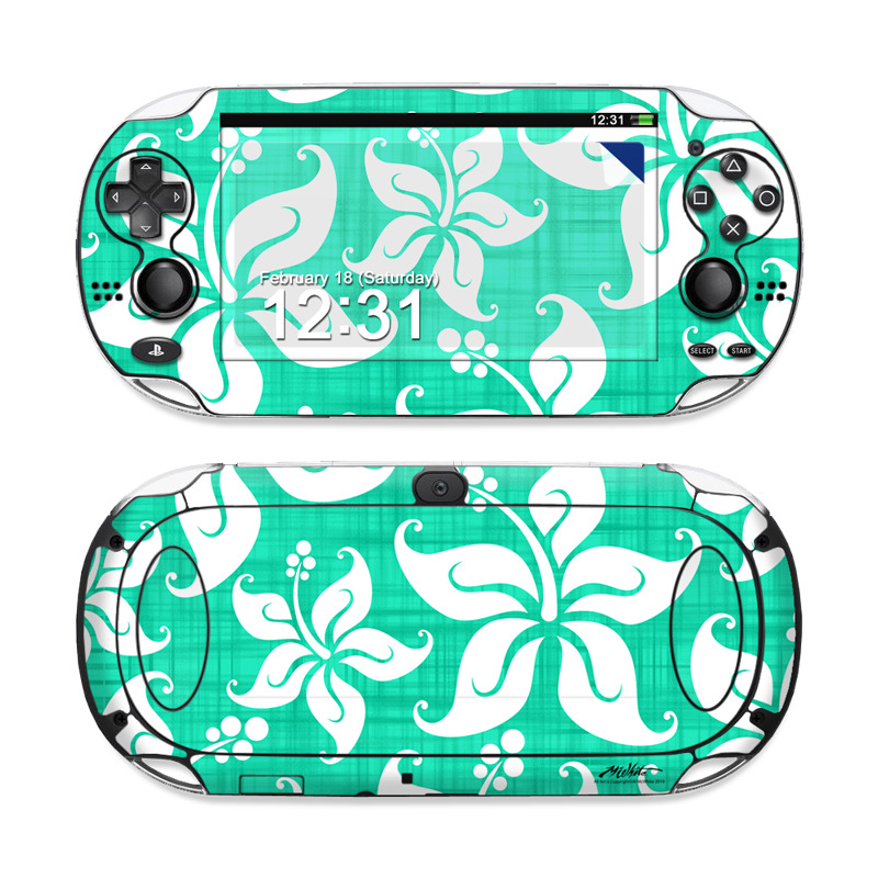 PlayStation Vita Skin design of Green, Aqua, Pattern, Teal, Turquoise, Wrapping paper, Design, Visual arts, Motif with blue, white, gray, green colors