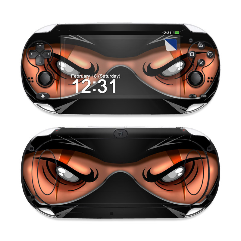 PlayStation Vita Skin design of Cartoon, Eye, Organ, Anime, Illustration, Mouth, Fictional character, Animation, Graphic design, Cg artwork with black, red, green, pink, orange, gray colors