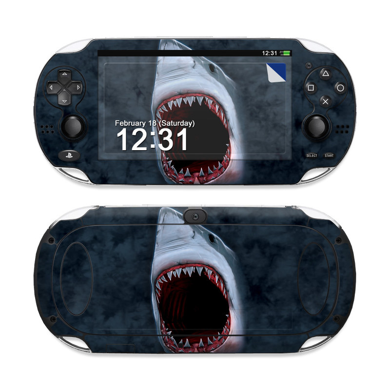 PlayStation Vita Skin design of Great white shark, Shark, Lamnidae, Fish, Lamniformes, Cartilaginous fish, Sand tiger shark, Tiger shark, Mouth, Jaw with black, gray, blue, red colors