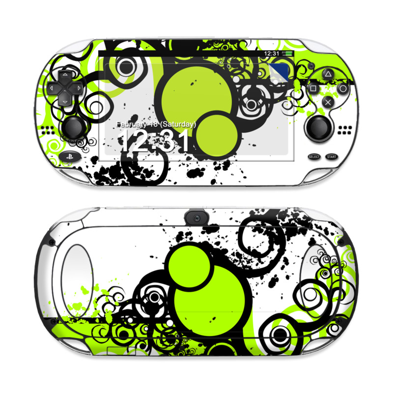 PlayStation Vita Skin design of Green, Circle, Graphic design, Leaf, Visual arts, Font, Design, Line, Pattern, Clip art with white, black, green, gray colors
