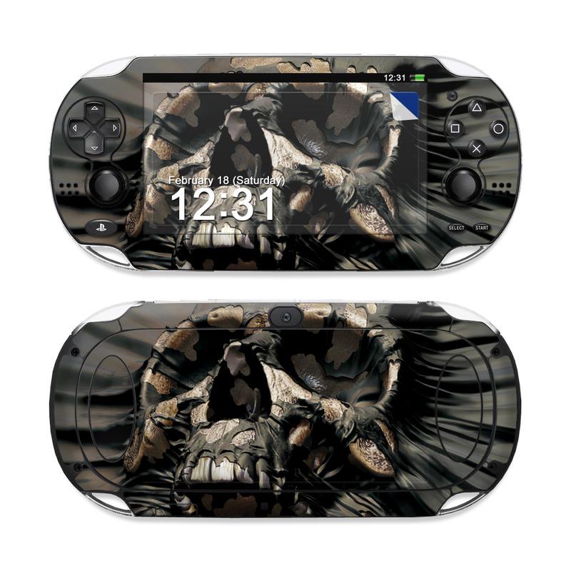 PlayStation Vita Skin design of Cg artwork, Fictional character, Illustration, Demon, Fiction, Supervillain, Mythology, Art with black, green, gray, red colors