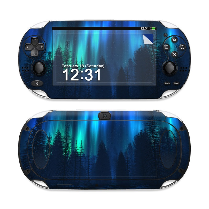 PlayStation Vita Skin design of Blue, Light, Natural environment, Tree, Sky, Forest, Darkness, Aurora, Night, Electric blue with black, blue colors